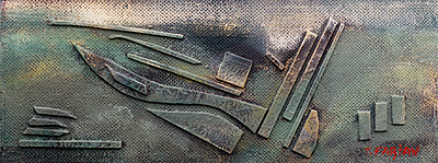 Relief II, 13,7 × 36,6 cm, assemblage, oil on carton